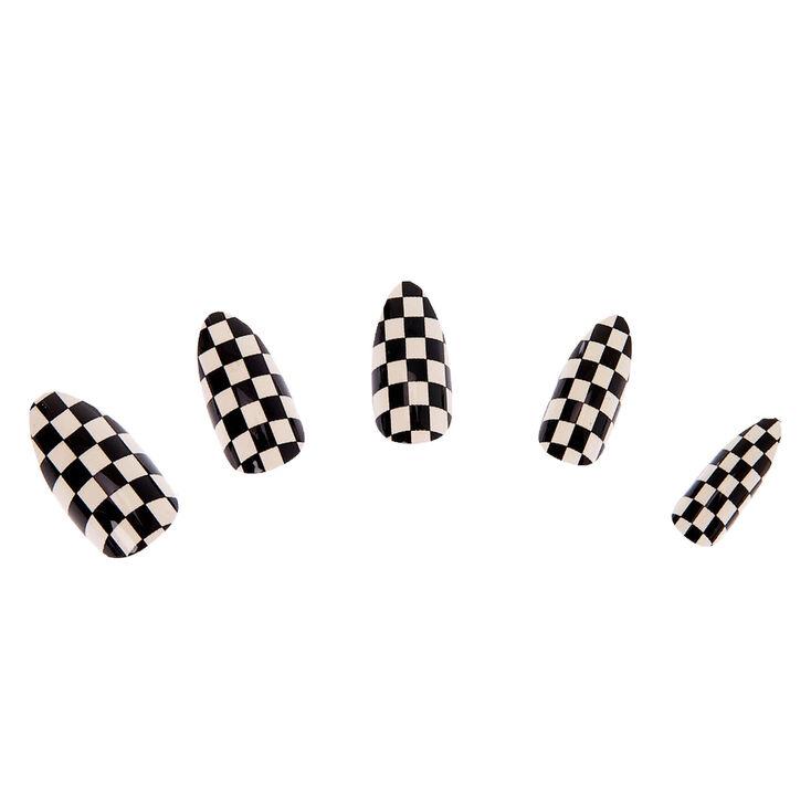Black & White Checkered Stiletto Faux Nail Set - 24 Pack,