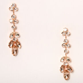 "Rose Gold 2"" Leaf Vine Drop Earrings,"