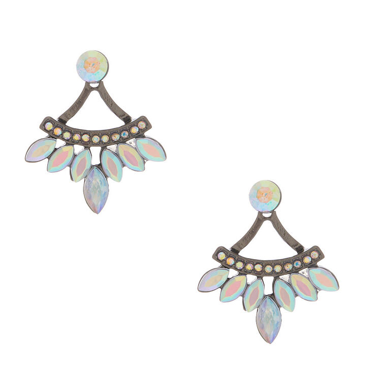 Hematite Crystal Ear Jacket Earrings,
