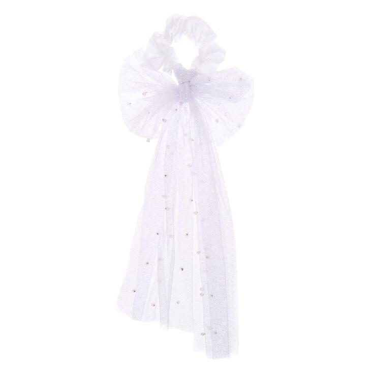 Small Bridal Veil Hair Scrunchie - White,