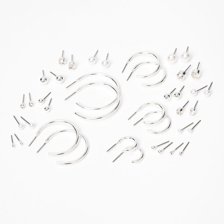 Silver Graduated Mixed Stud Earrings - 20 Pack,