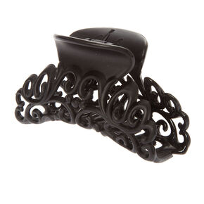 Filigree Scroll Hair Claw - Black,