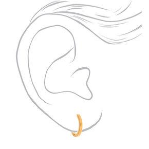 18kt Gold Plated 14MM Dangly Crystal Hoop Earrings,