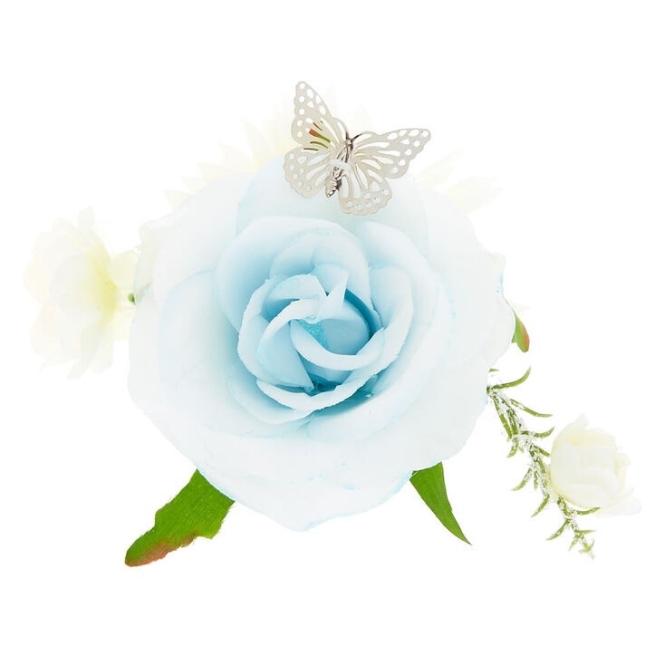 Butterfly Flower Cluster Hair Clip - Baby Blue,