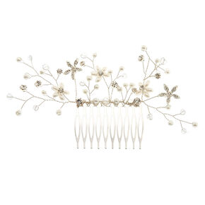 Pearl And Crystal Flower Large Hair Comb,