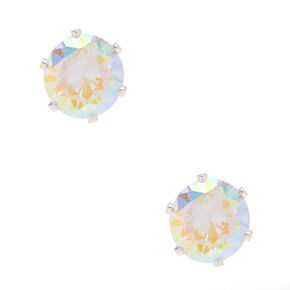 8MM Iridescent Cubic Zirconia Stud Earrings,
