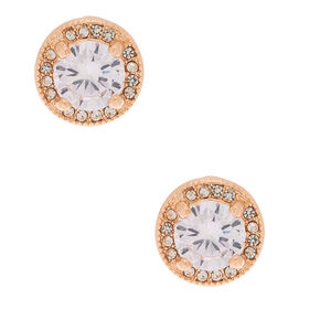 Gold Cubic Zirconia Round Stud Earrings,