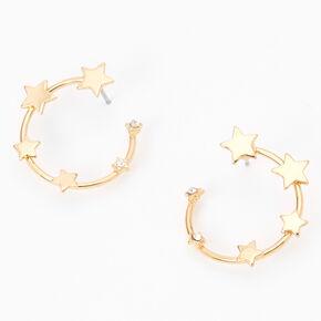 Gold Star Hoop Stud Earrings,