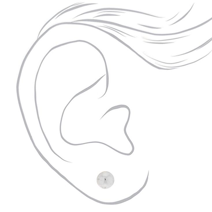 Silver Graduated Stud Earrings - 6 Pack,