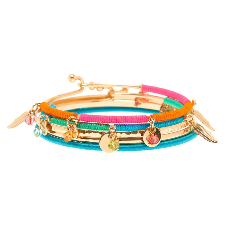 5 Pack Gold-Tone Neon Wrapped Bangle Bracelets,
