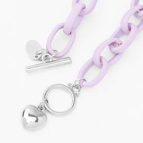 Silver Heart Rubber Chain Bracelet - Purple,