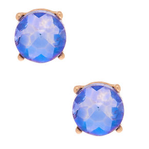 Gold 10MM Round Stone Stud Earrings - Purple,