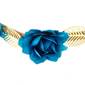 Indigo Roses & Leaves Headwrap,