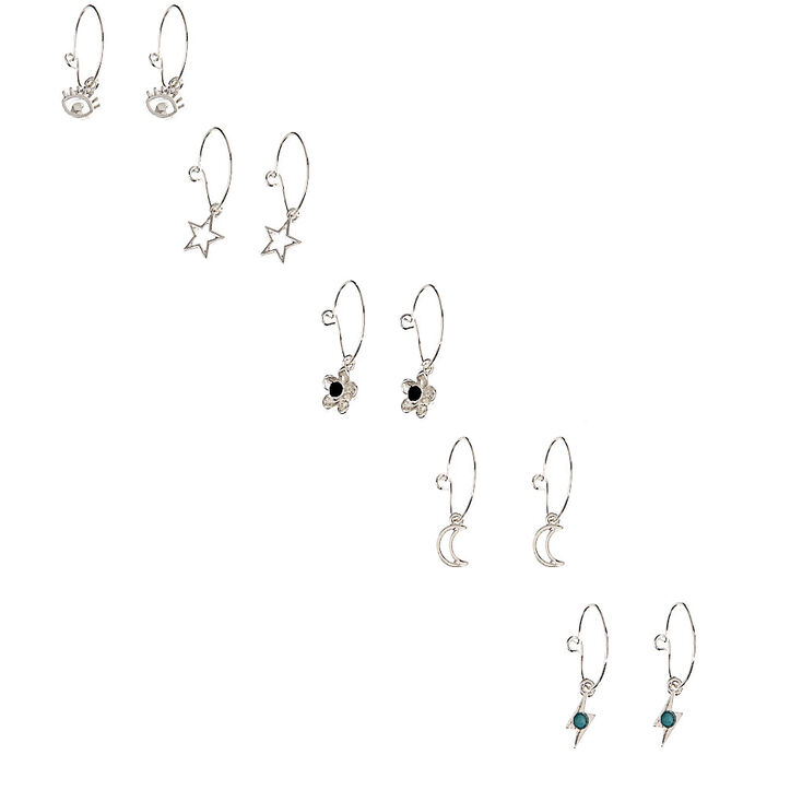 Silver Celestial Hamsa Mixed Earring Set - Turquoise, 20 Pack,
