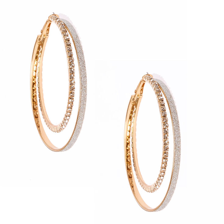 60MM Silver Glitter & Crystal Lined Gold Tone Double Hoop Earrings,