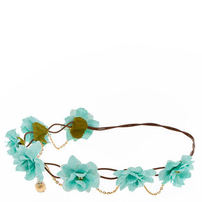 Mint Green Flower & Gold Faux Pearl Hair Flower Crown,