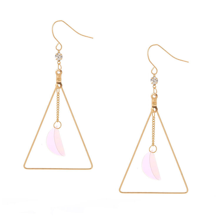 """Gold 2.5"""" Sequin Triangle Drop Earrings,"""