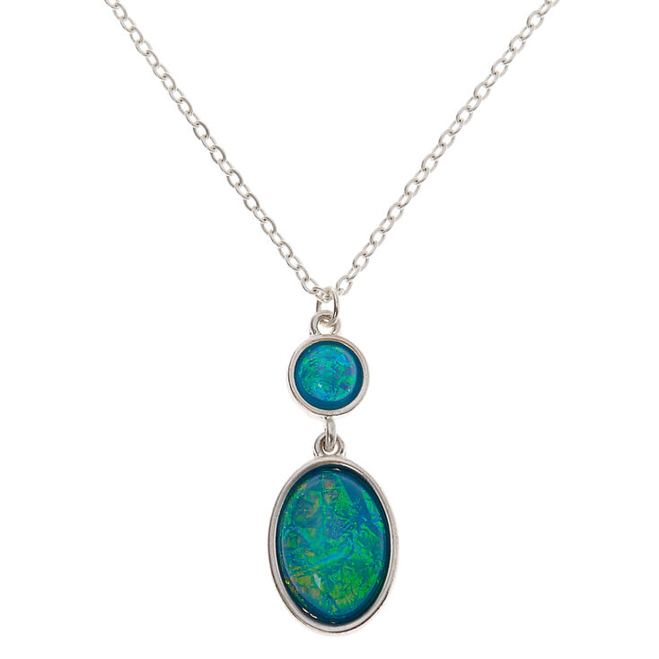 Silver Aquatic Pendant Necklace - Turquoise,