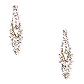Gold Aurora Borealis Crystal Marquis Drop Earrings,