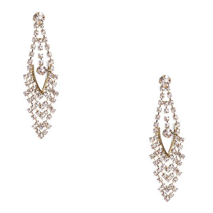 Gold Aurora Borealis Crystal Marquis Drop Earrings,