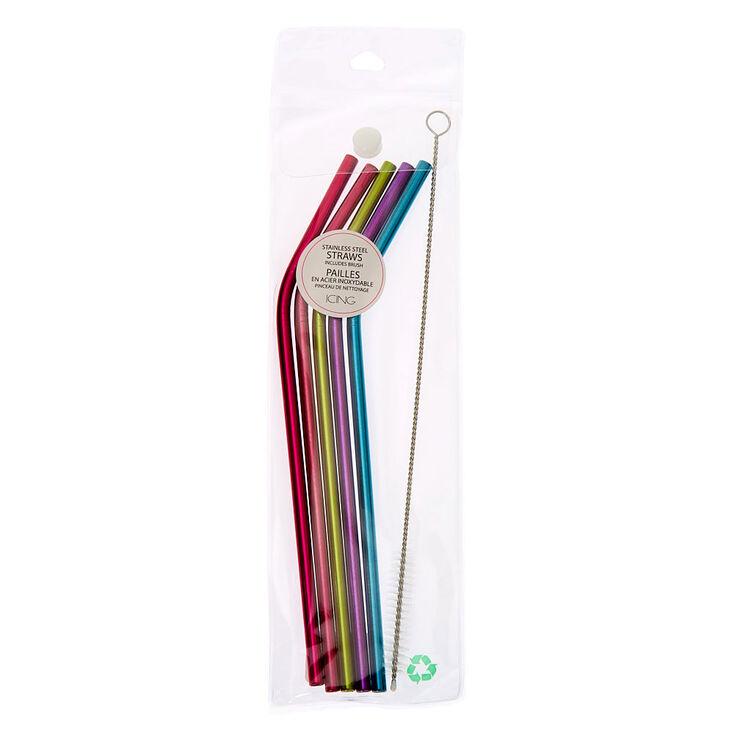 Rainbow Bent Stainless Steel Straws - 5 Pack,