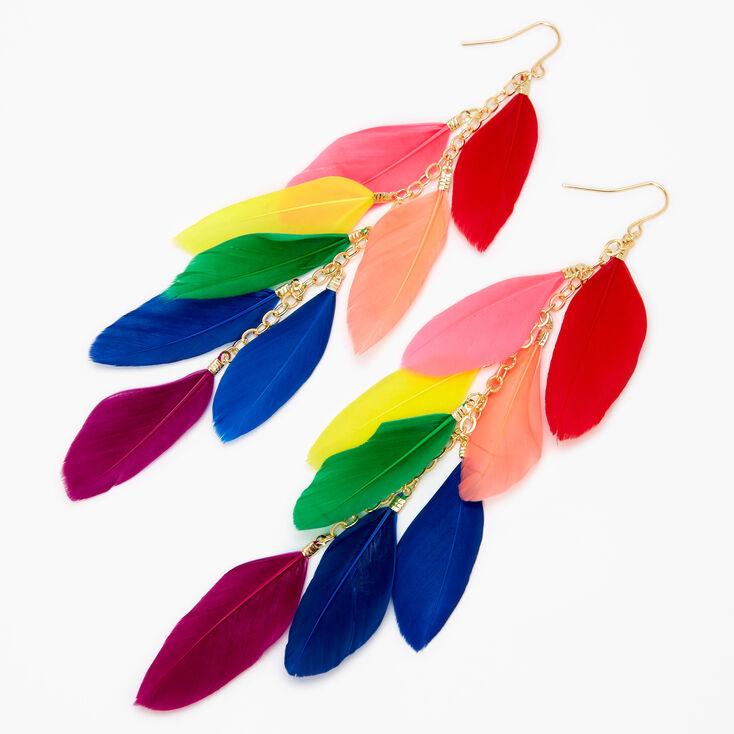 "Gold 6"" Neon Rainbow Feather Chain Drop Earrings,"