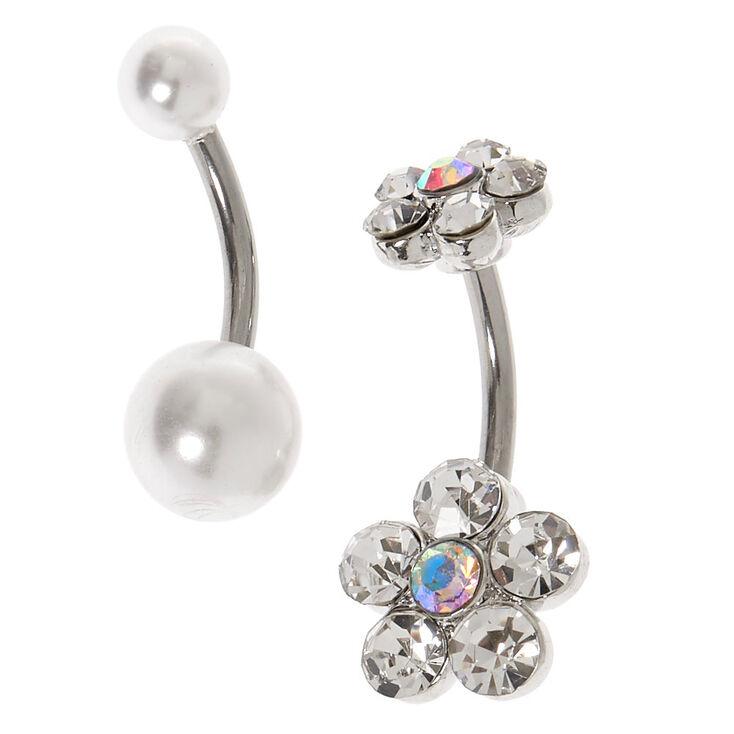 Silver 14G Crystal Flower & Pearl Belly Rings - 2 Pack,