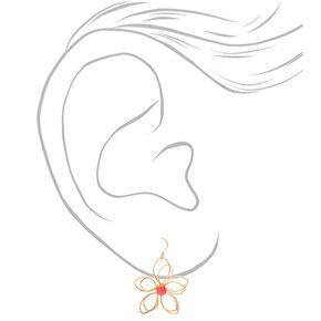 """Gold 1.5"""" Wire Flower Drop Earrings - Pink,"""
