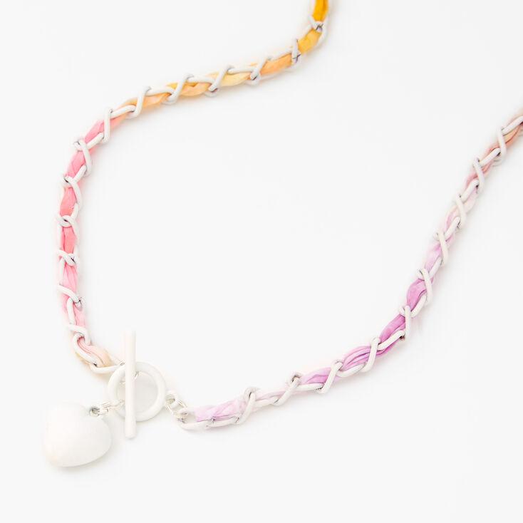 Tie-Dye Braided Heart Pendant Necklace,