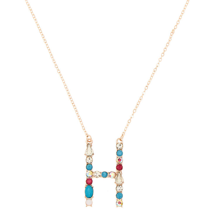 Embellished Long Initial Pendant Necklace - H,