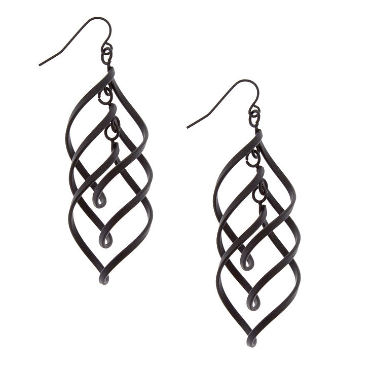 Black Spiral Drop Earrings,