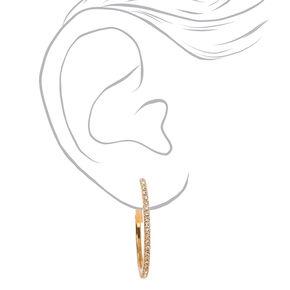 Gold Rhinestone 30MM Hoop Earrings,