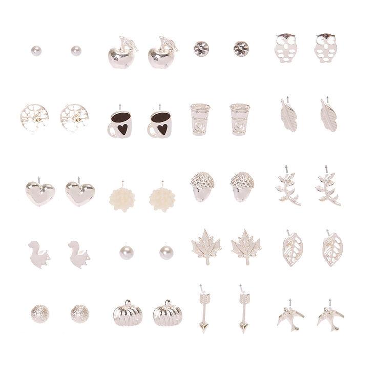 Silver Tone Autumn Motif Stud Earrings Set of 20,