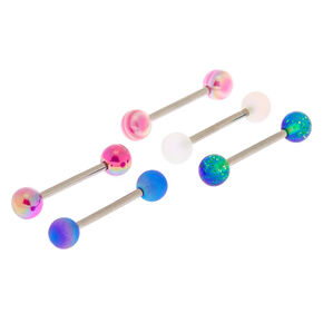 Silver Cosmic Barbell Tongue Rings - 5 Pack,