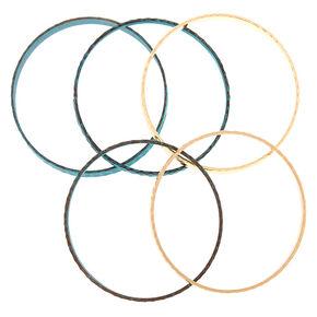 Gold Patina Bangle Bracelets - 5 Pack,