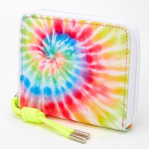 Neon Tie Dye Spiral Mini Zip Wallet,