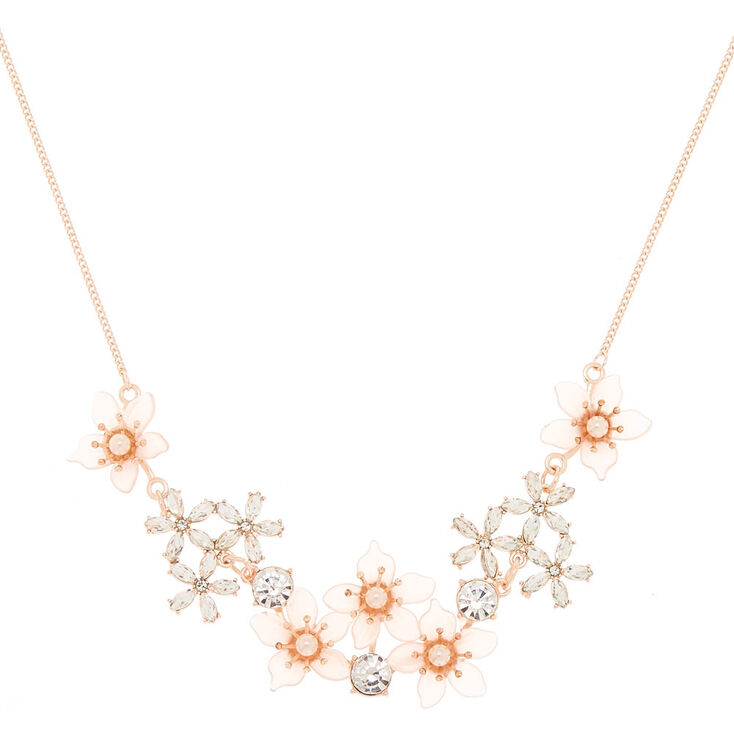 Rose Gold Frosted Flower Statement Necklace - Pink,