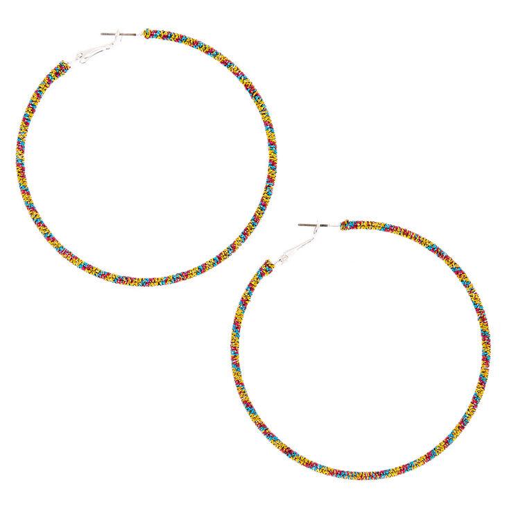 Silver Metallic 60MM Hoop Earrings - Yellow,