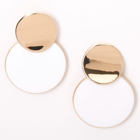 "Gold 1.5"" Double Circle Drop Earrings - White,"