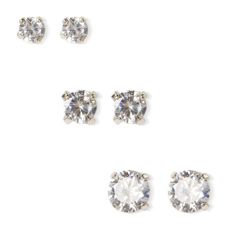 6MM, 7MM & 8MM Round Cubic Zirconia Martini Set Stud Earrings,