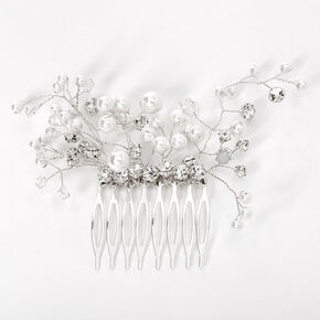 Silver Crystal & Pearl Vine Hair Comb,