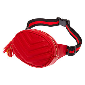 Quilted Chevron Oval Fanny Pack - Red,