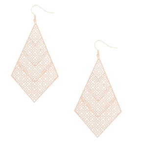 "Rose Gold 3"" Diamond Filigree Drop Earrings,"