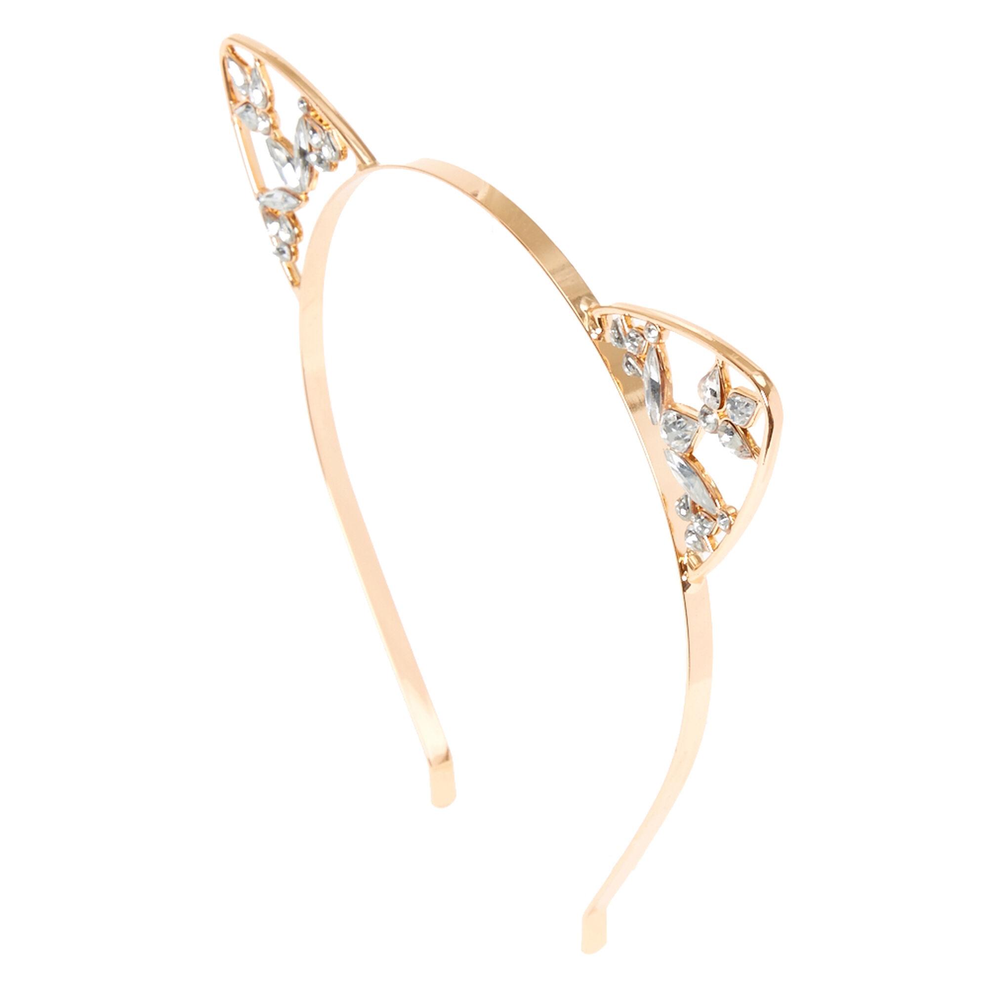 Rose Gold Crystal Cat Ears Headband  e0850db1055