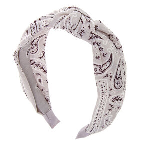 Bandana Knotted Headband - Light Gray,