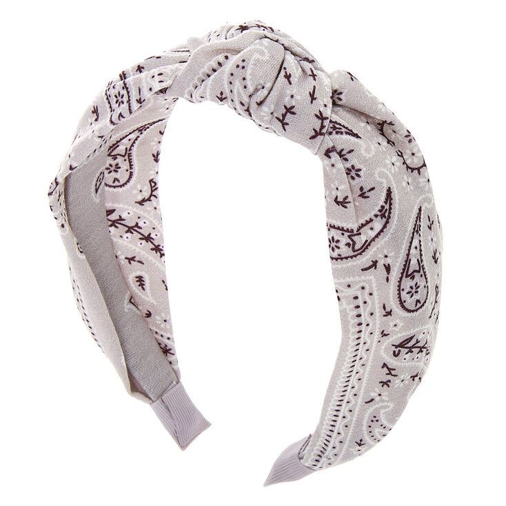 Bandana Knotted Headband - Light Gray,