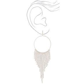 """Silver Rhinestone 4.5"""" Fringe Drop Earrings,"""