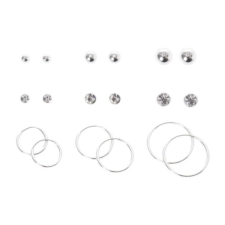 Silver Graduated Hoop & Stud Earring Set,