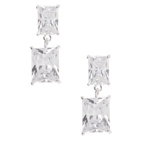 "Silver Cubic Zirconia 1"" Double Rectangle Drop Stud Earrings,"