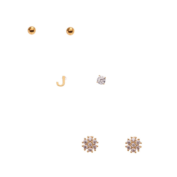 "18kt Gold Plated ""J"" Initial Stud Earring Set,"